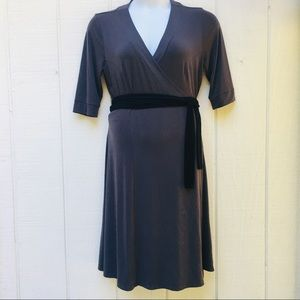 Kiyonna Plus Sz Wrap Dress Dark Gray Black Belt